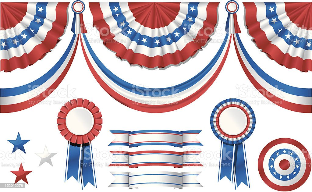 National American symbolics - flag and awards vector art illustration