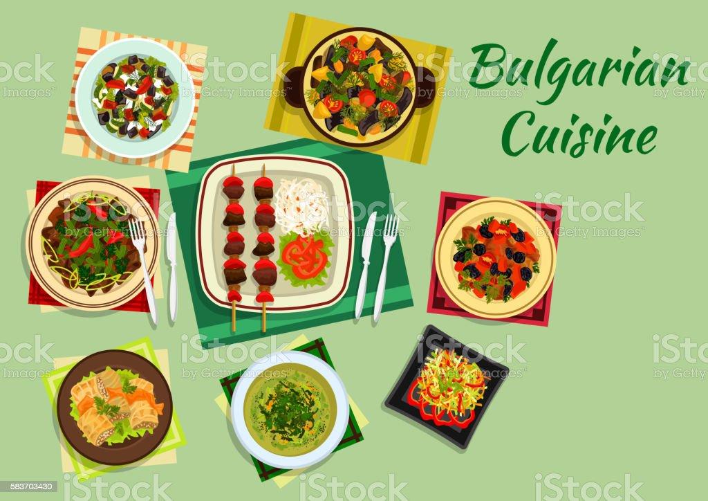 National bulgarian cuisine menu dishes vector art illustration