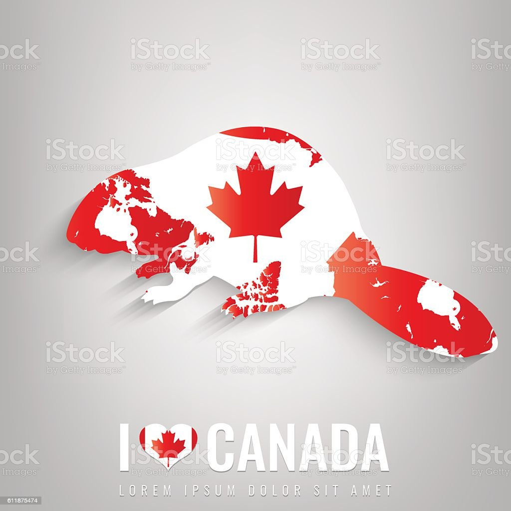 National Canada symbol Beaver with an official flag and map vector art illustration