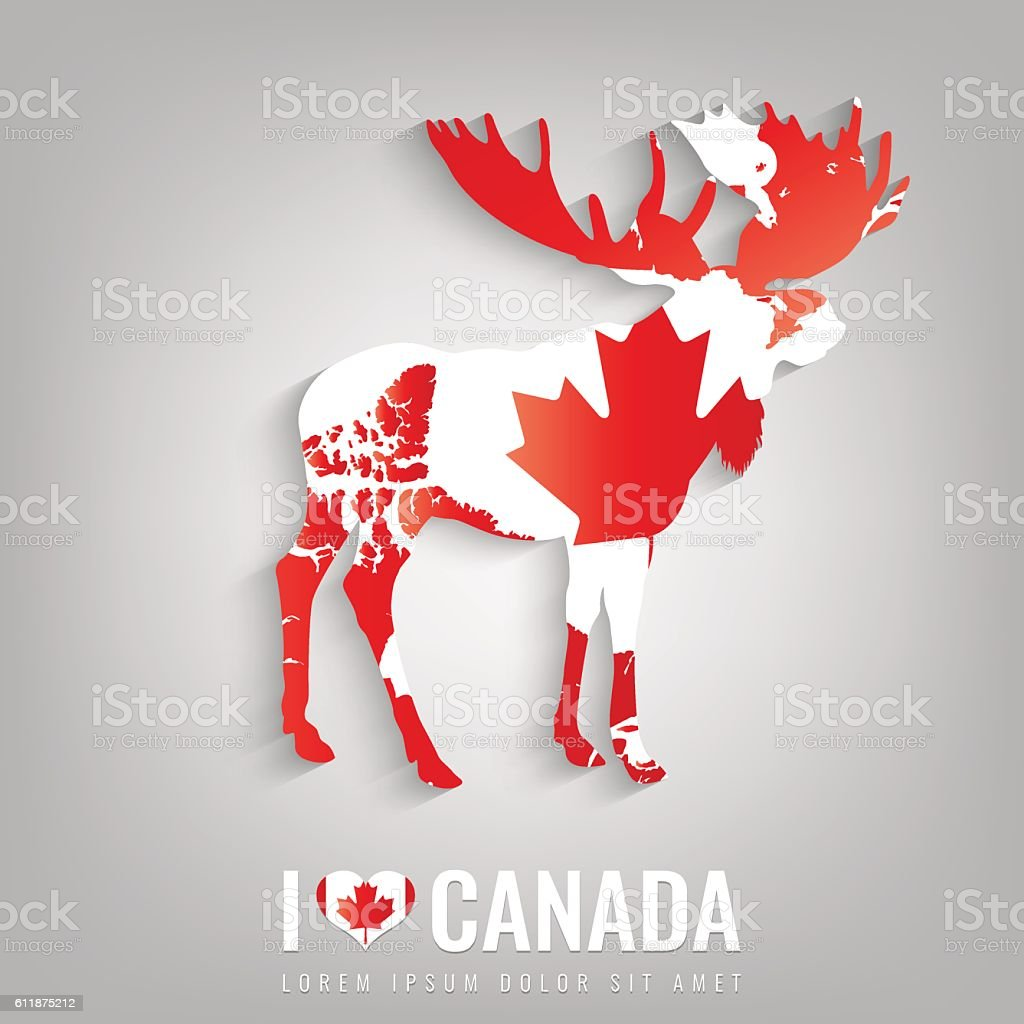 National Canada symbol Elk with an official flag and map vector art illustration