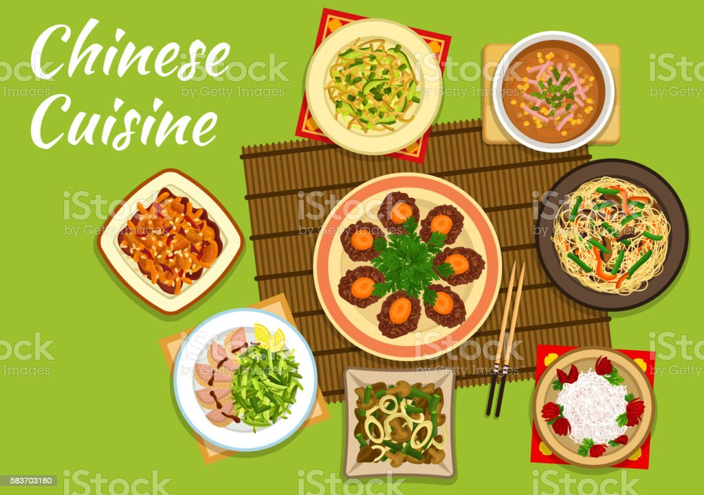 National chinese cuisine dishes for menu design vector art illustration