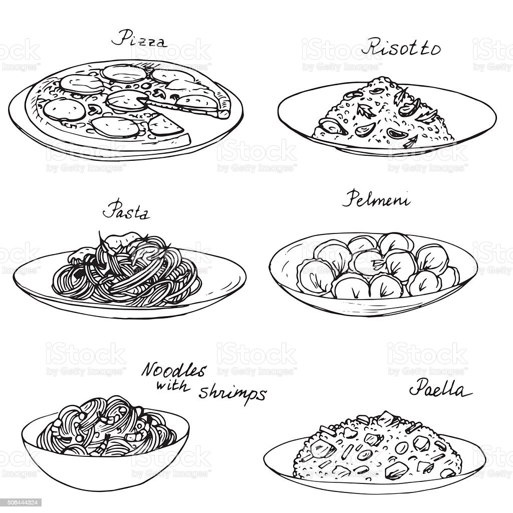 National dishes set vector art illustration