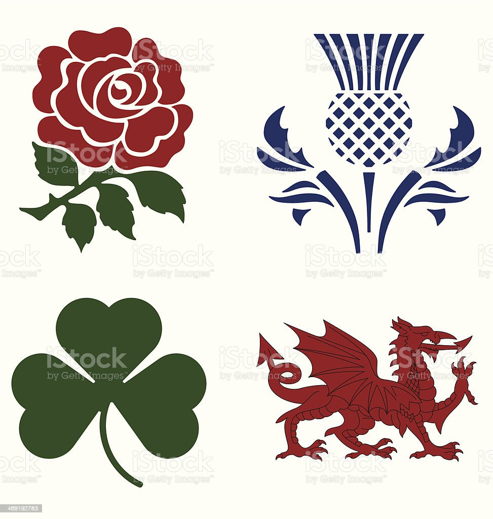 UK national emblems vector art illustration