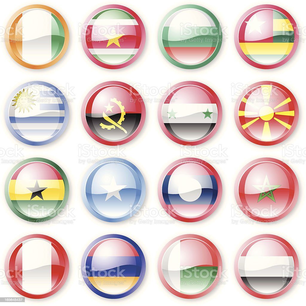 National Flag Buttons royalty-free stock vector art