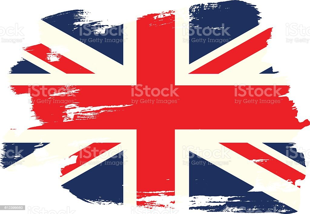 National flag of the United Kingdom with brush strokes painted vector art illustration