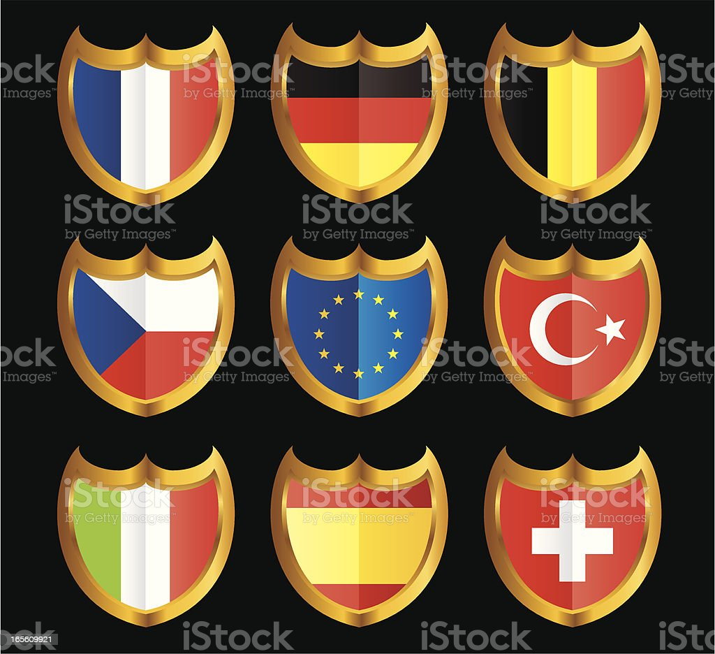 National Flag Shield Icon Set royalty-free stock vector art