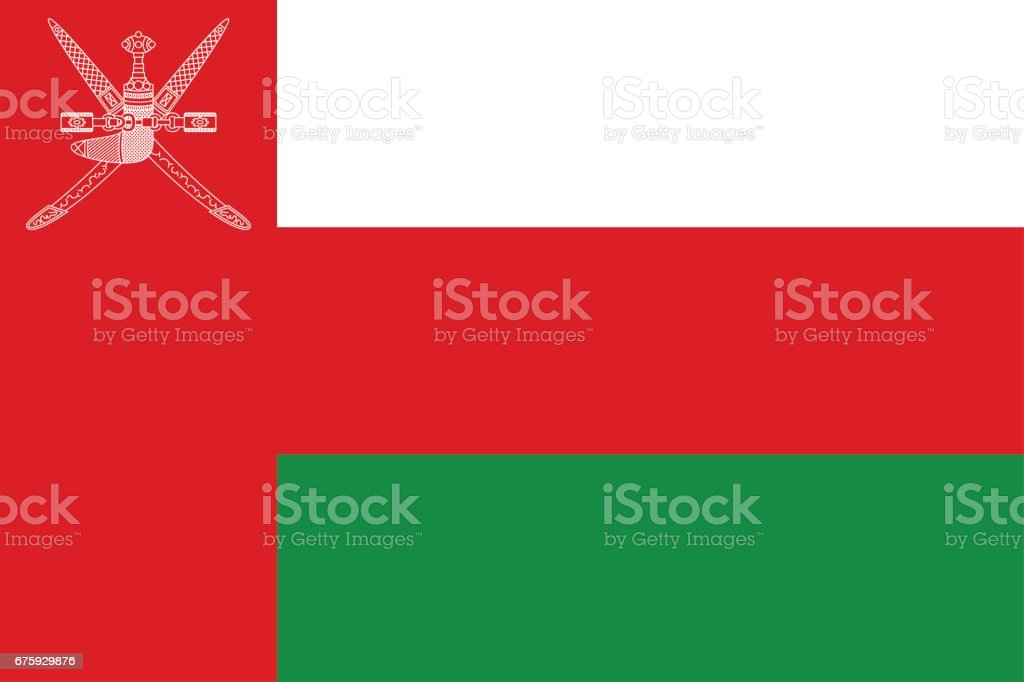 National flag Sultanate of Oman. vector art illustration