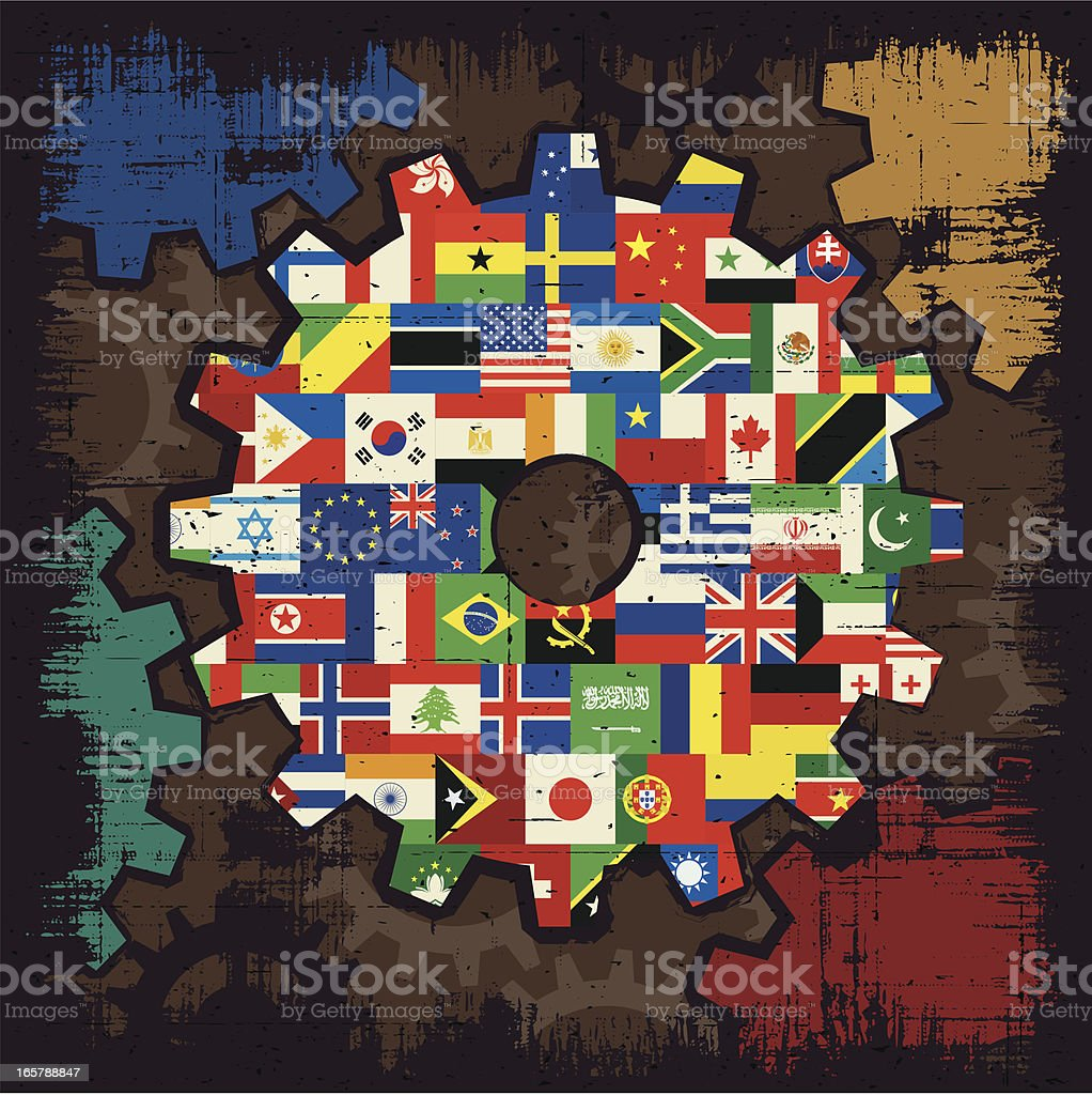 national flags cogs royalty-free stock vector art