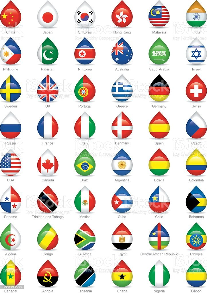 national flags droplets vector art illustration