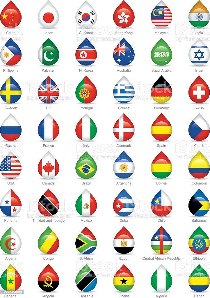 national flags droplets vector art illustration
