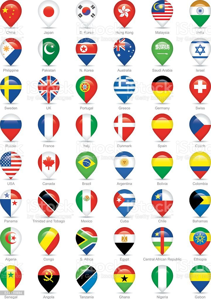national flags icons vector art illustration