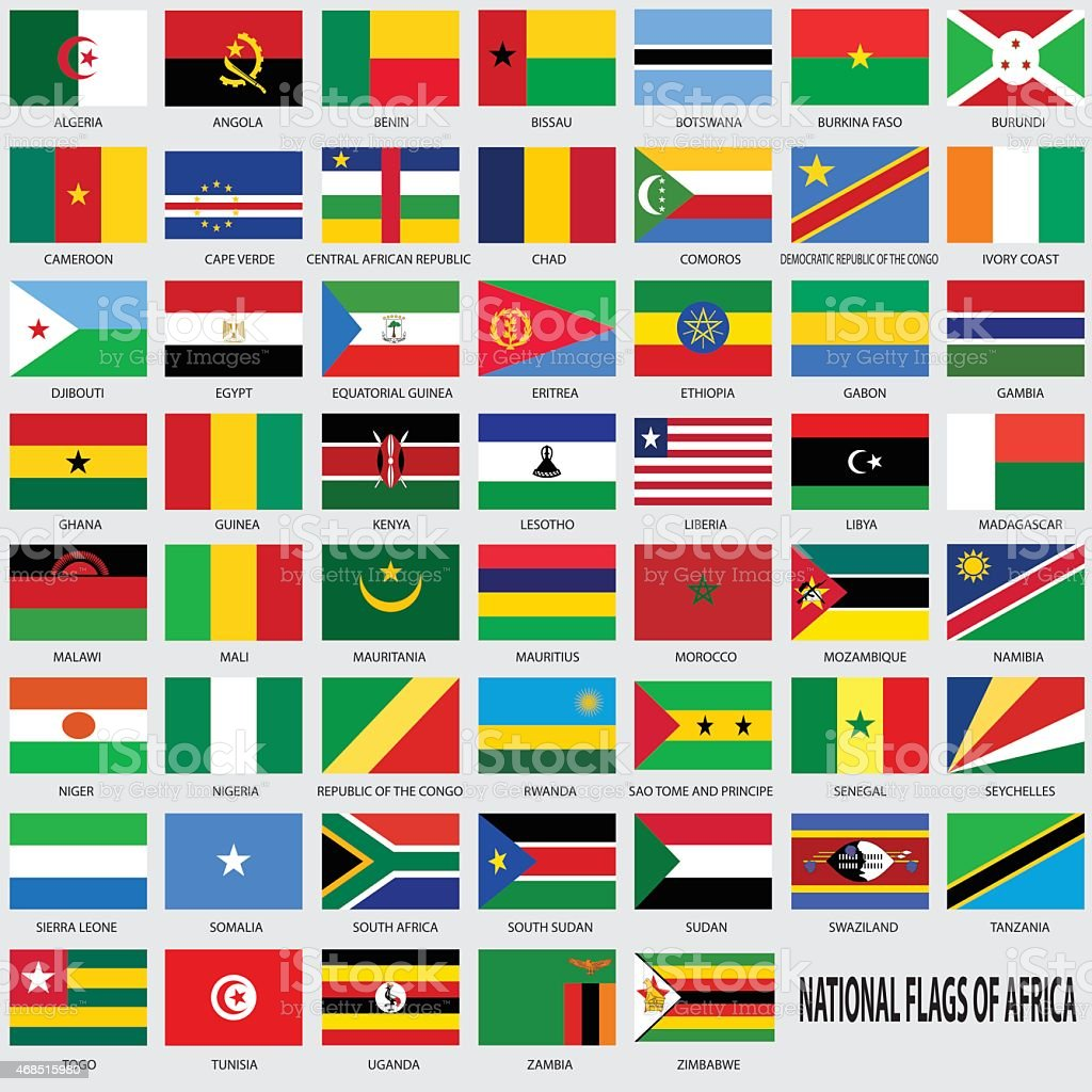 National flags of Africa vector art illustration