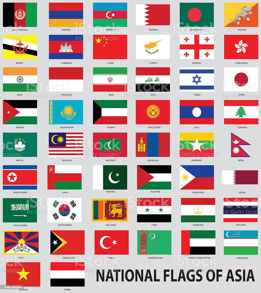 National flags of the Asia vector art illustration