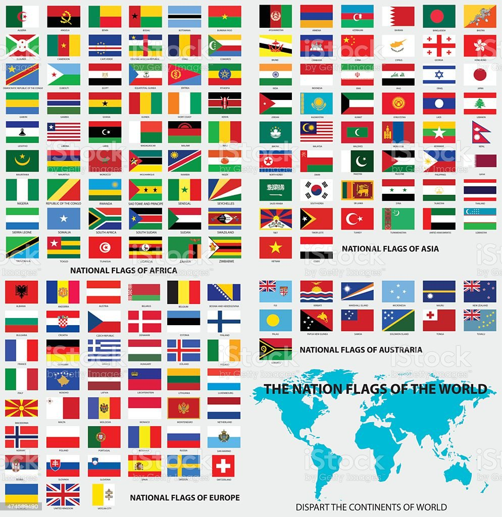 National flags of the world vector art illustration