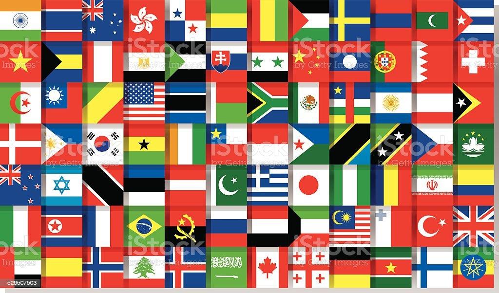 national flags vector art illustration