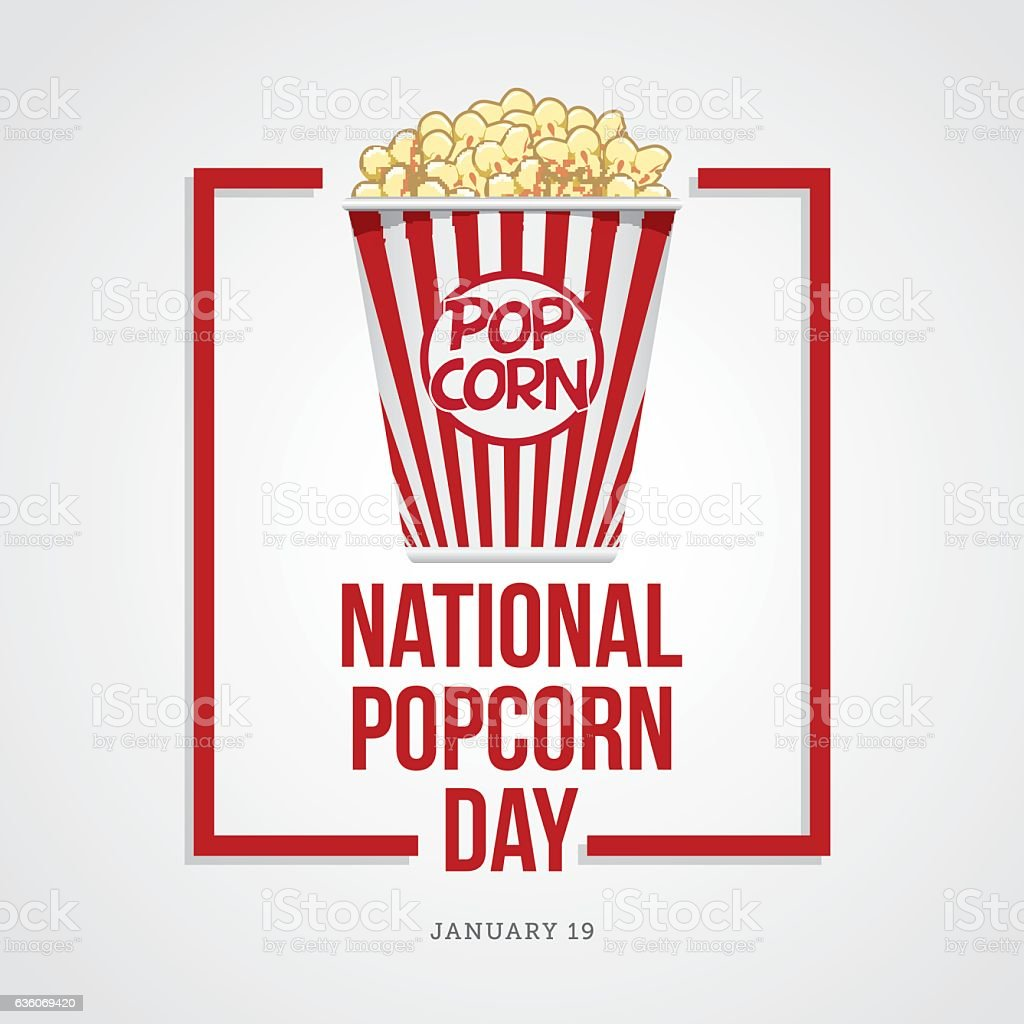 National Popcorn Day vector art illustration