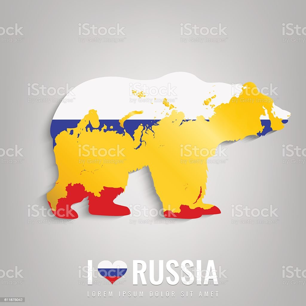 National Russia symbol Bear with an official flag and map royalty-free stock vector art