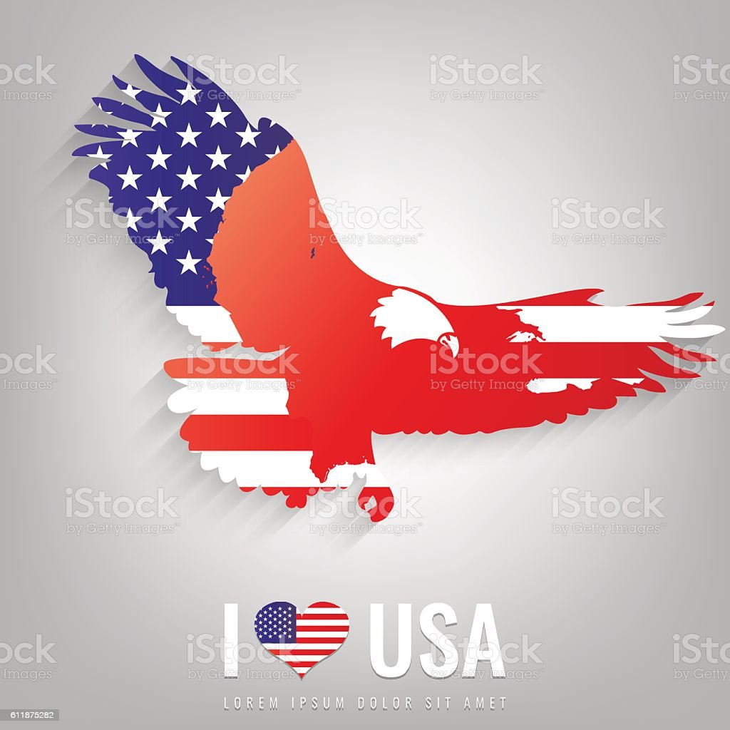 National USA symbol eagle with an official flag and map royalty-free stock vector art