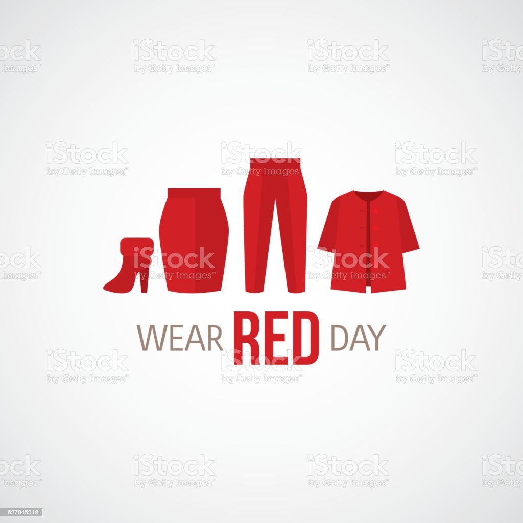 National wear red day vector art illustration