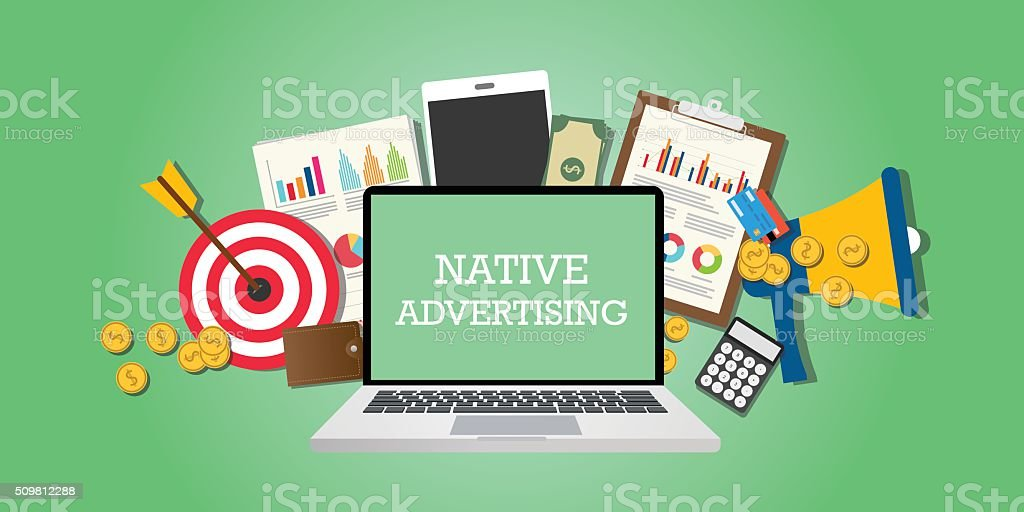 native advertising concept with marketing media illustrated in laptop vector art illustration