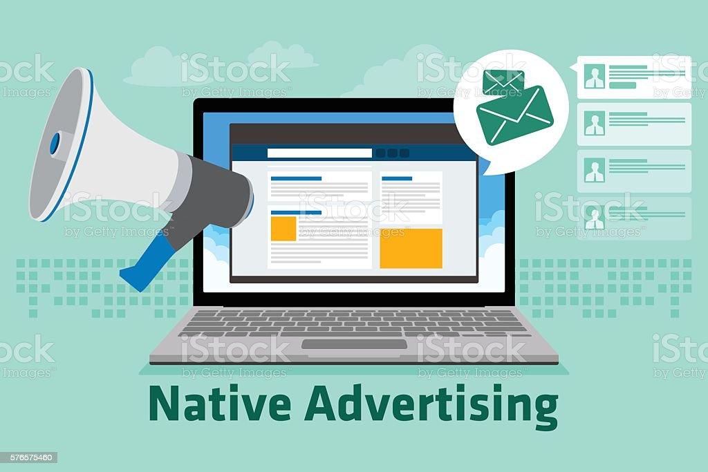 native advertising vector art illustration