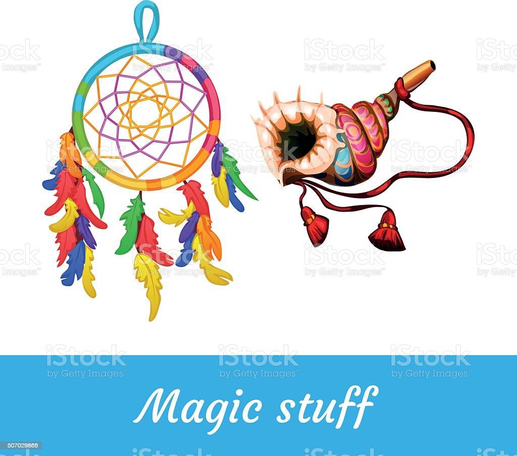 Native American and shamanic magical supplies vector art illustration