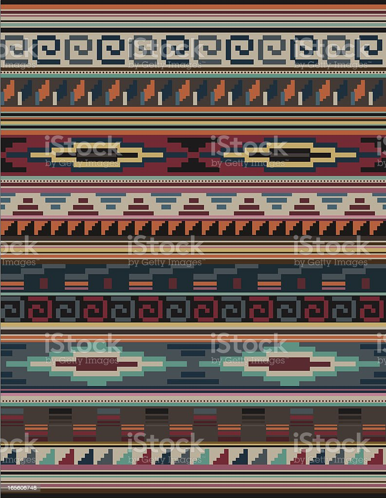 Native American, Aztec, Mian Pattern, RUG Blocky vector art illustration