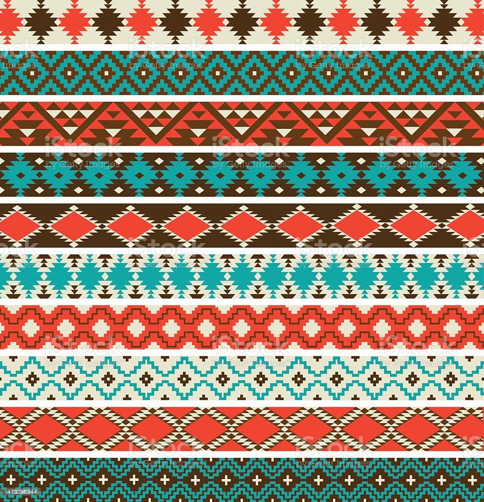 Native American border patterns vector art illustration