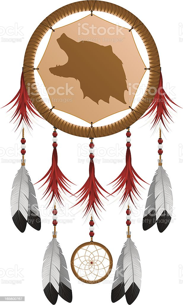 Native American Grizzly Bear Dream Catcher vector art illustration