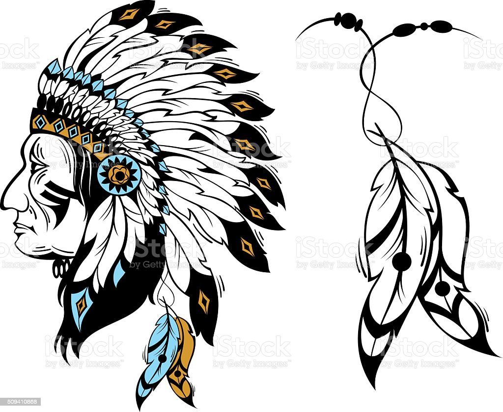 Native American Head and feathers vector art illustration