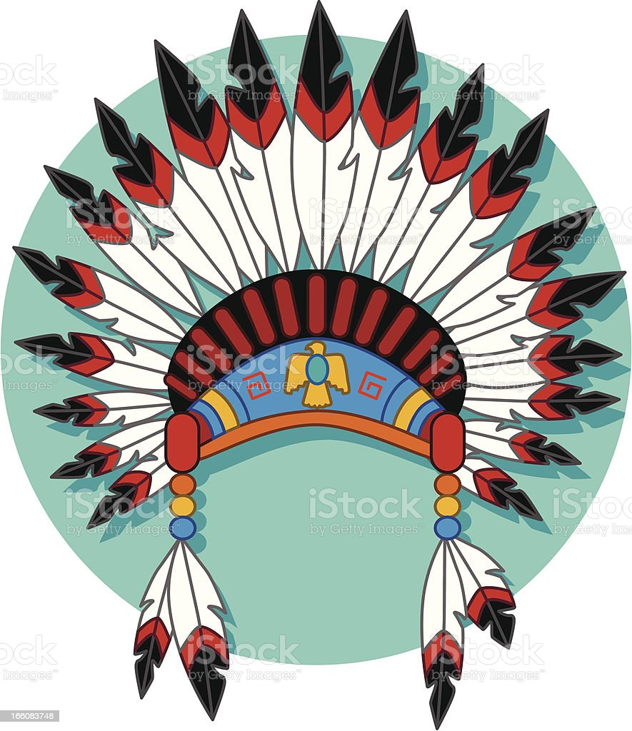 Native American headdress vector art illustration