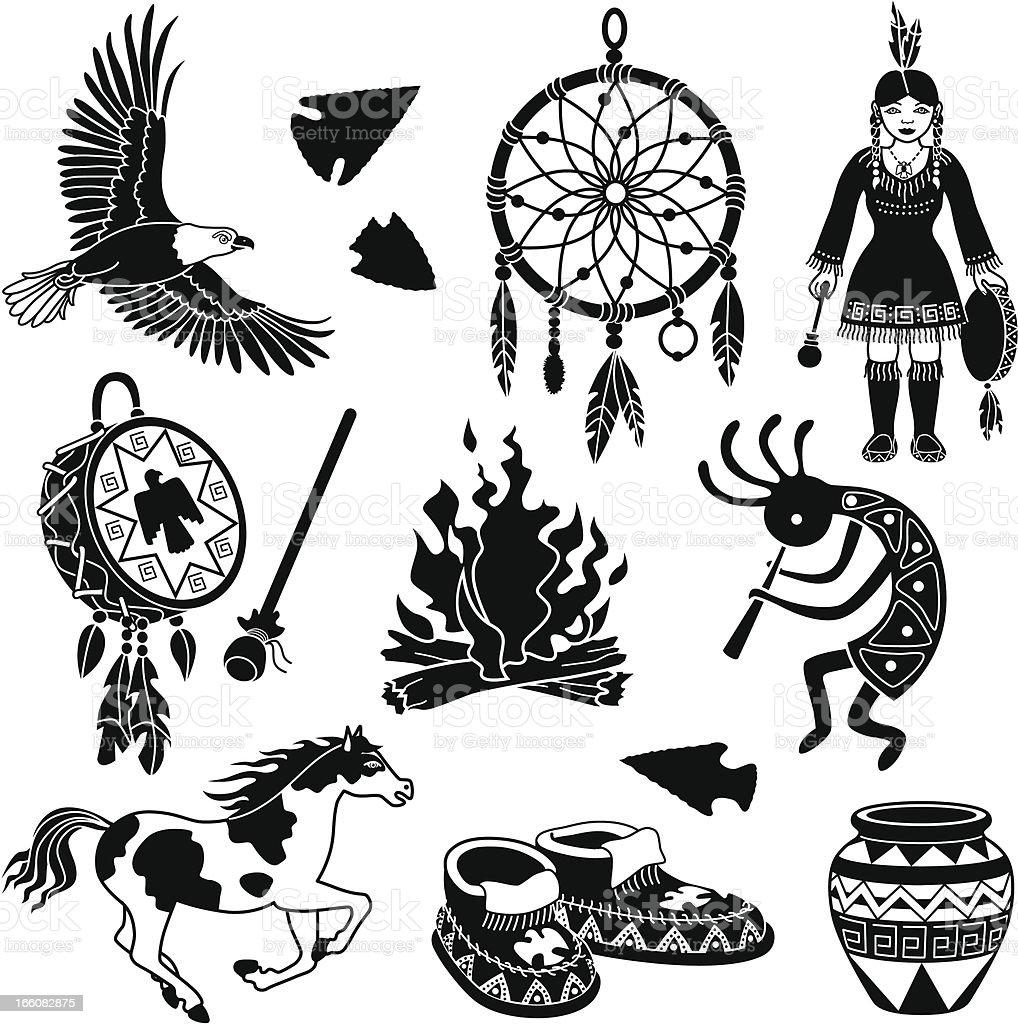 Native American icons vector art illustration