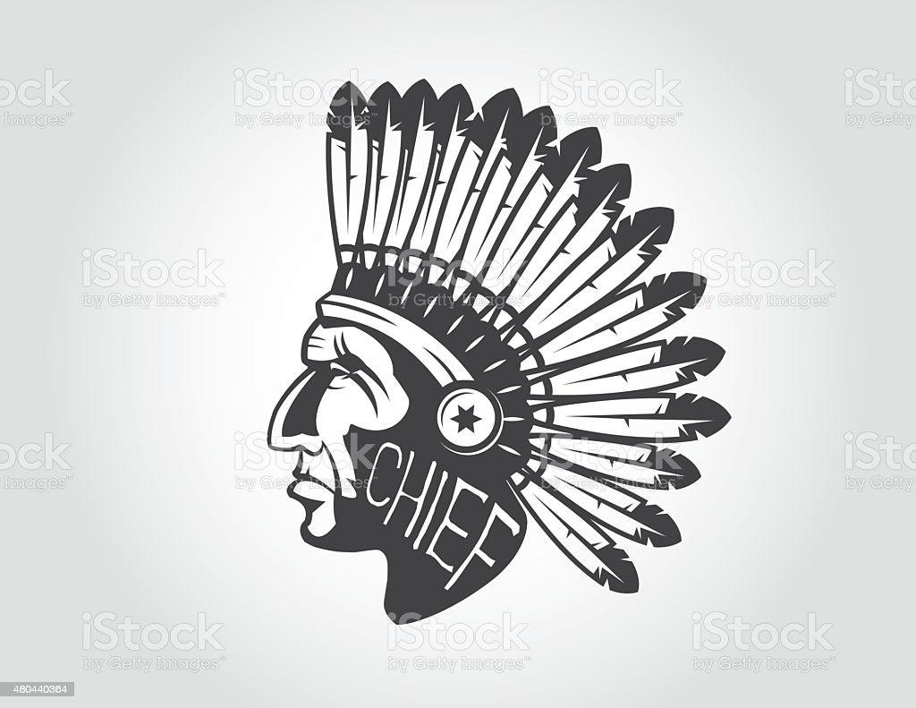 native american indian chief headdress vector art illustration
