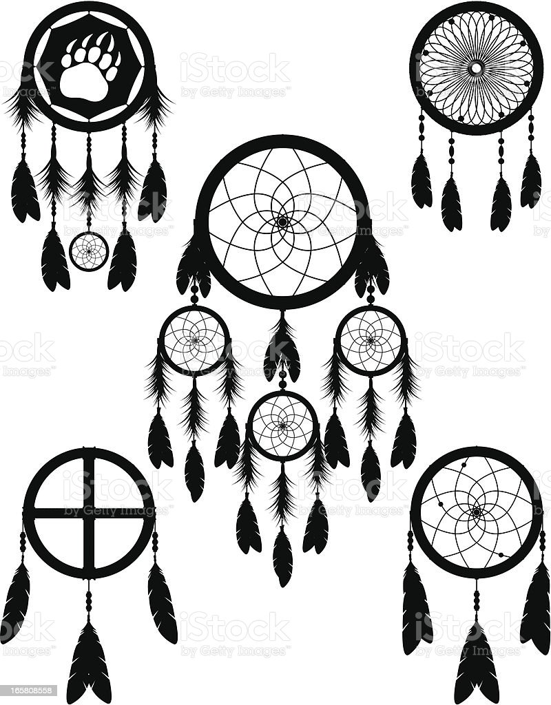 Native American Indian Dream Catcher Vector Illustration Silhouette Collection vector art illustration