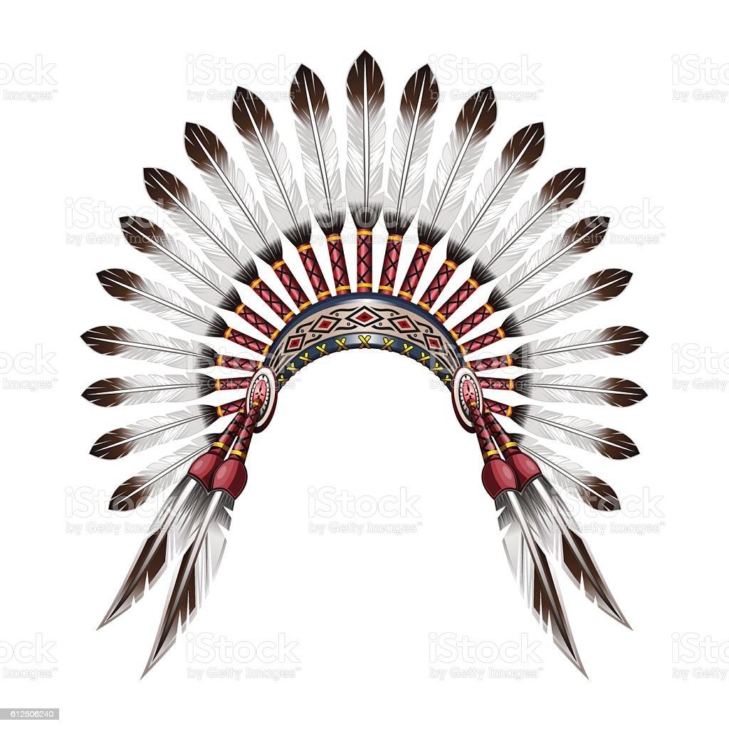 Native American Indian feather headdress vector art illustration