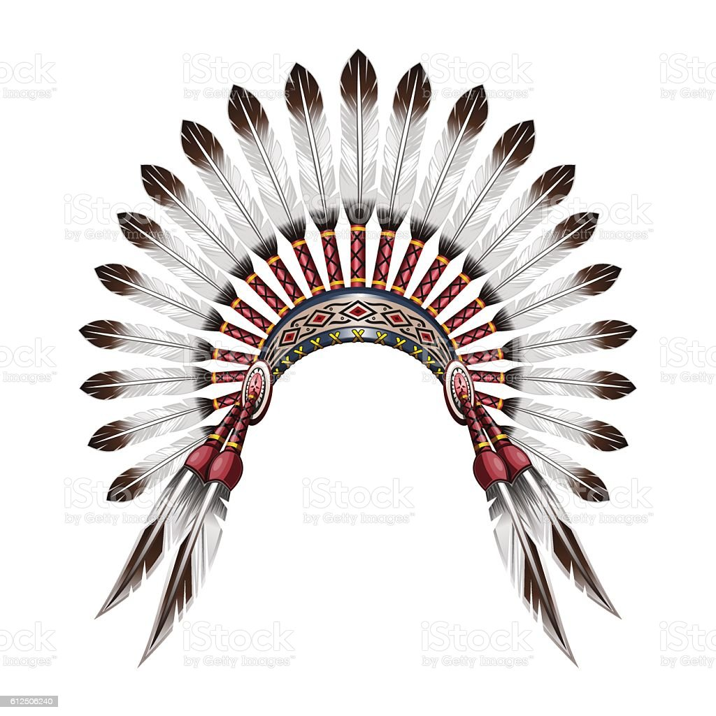 Native American Indian feather headdress vector art illustration
