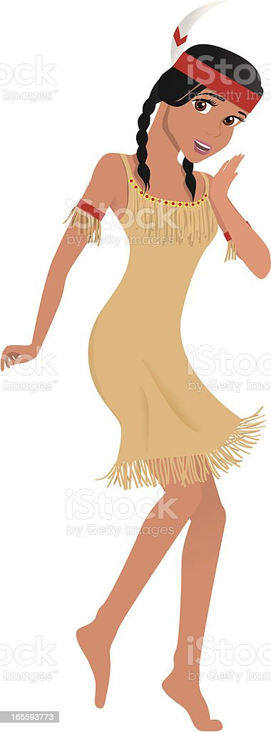 Native American / Indian Girl Dancer on Thanksgiving royalty-free stock vector art