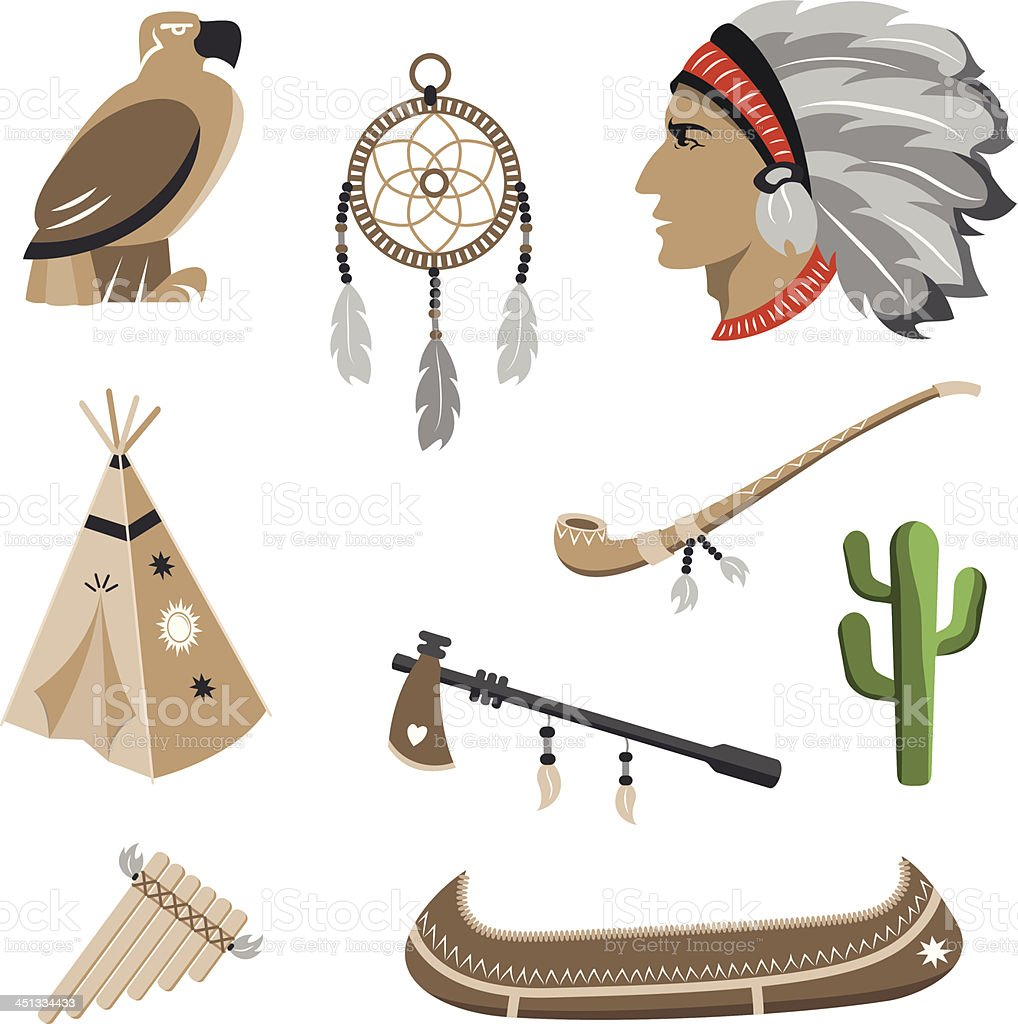 Native american indian icons royalty-free stock vector art