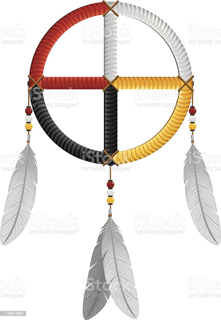Native American Indian Medicine Wheel Feathers and Beads Vector Illustration vector art illustration