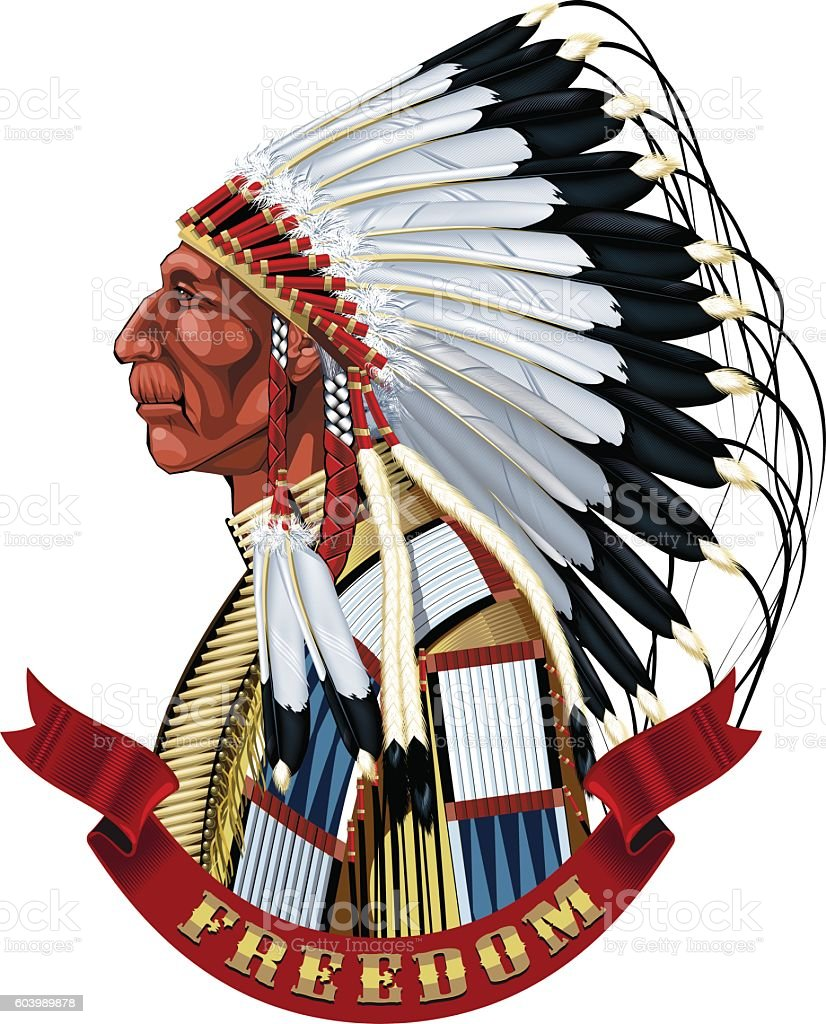 Native American Indian old man profile in war bonnet. royalty-free stock vector art