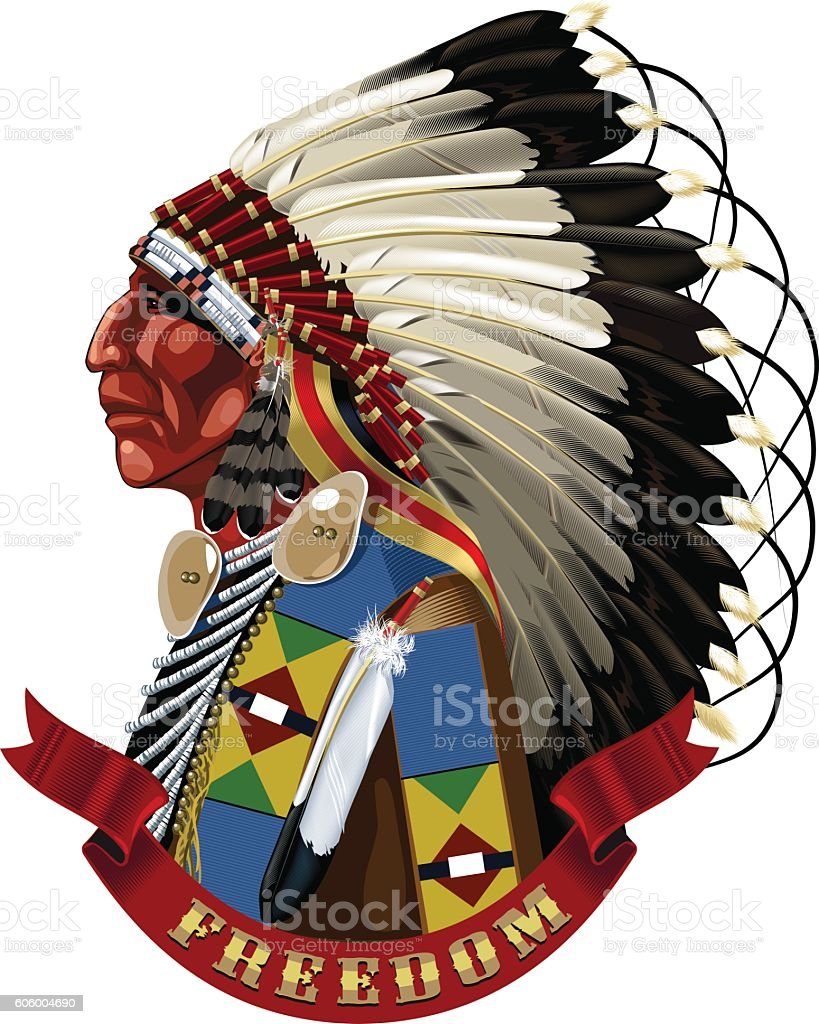 Native American Indian profile in war bonnet. royalty-free stock vector art