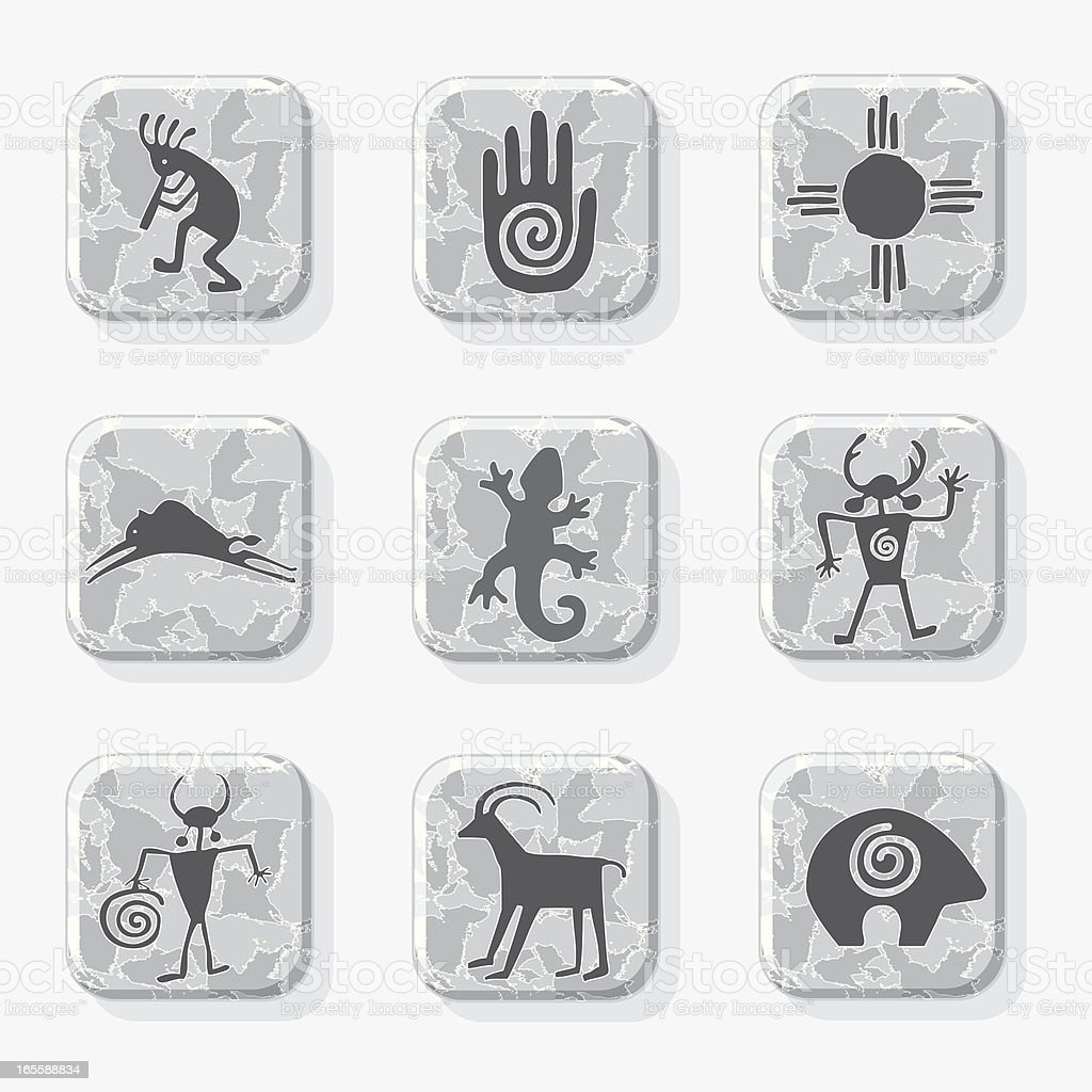 Native American Petroglyph Icons in Black and White vector art illustration