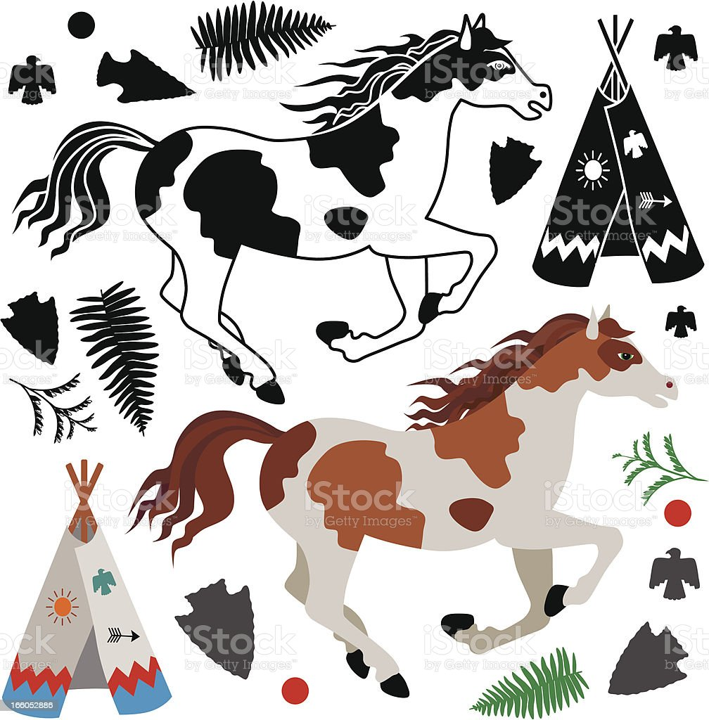 Native American pony and tee pee royalty-free stock vector art