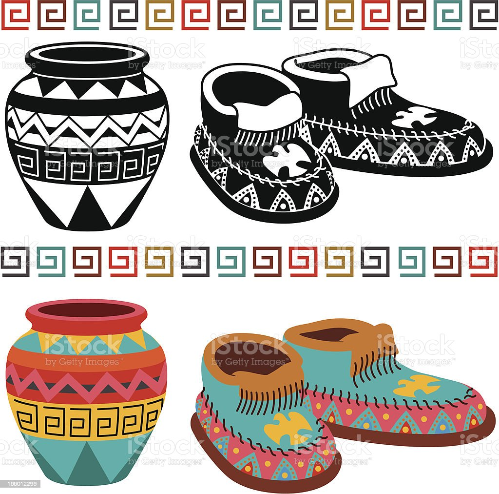 Native American pottery and moccasins vector art illustration