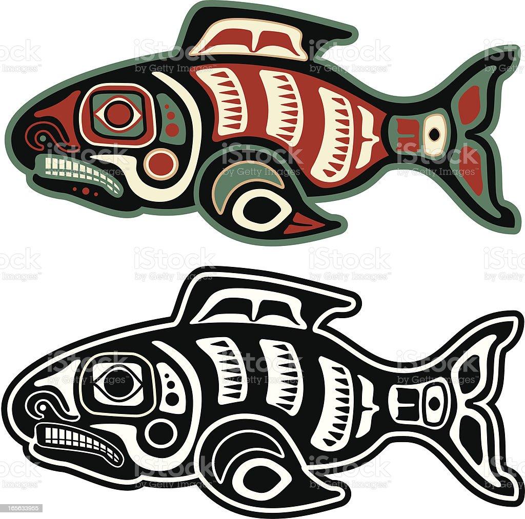 Native American Salmon vector art illustration