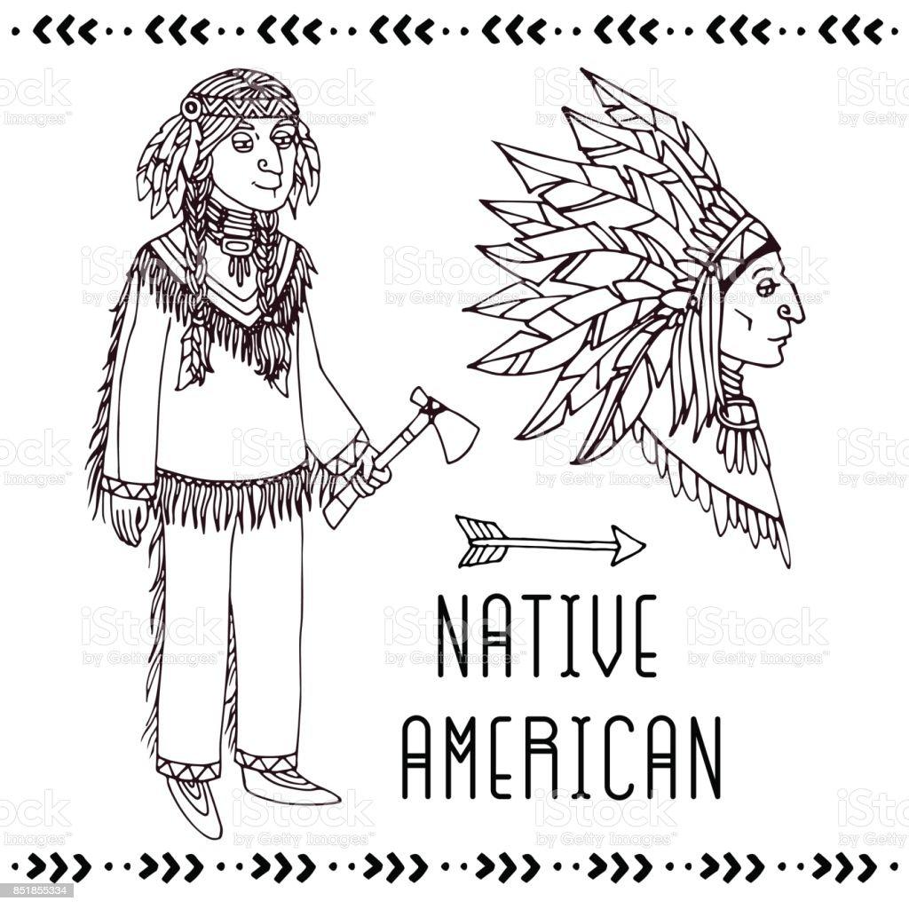 Native American set. Vector line illustration. vector art illustration