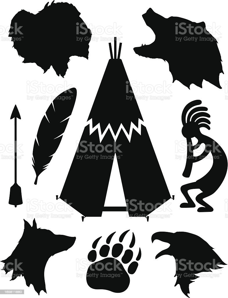 Native American Silhouettes royalty-free stock vector art