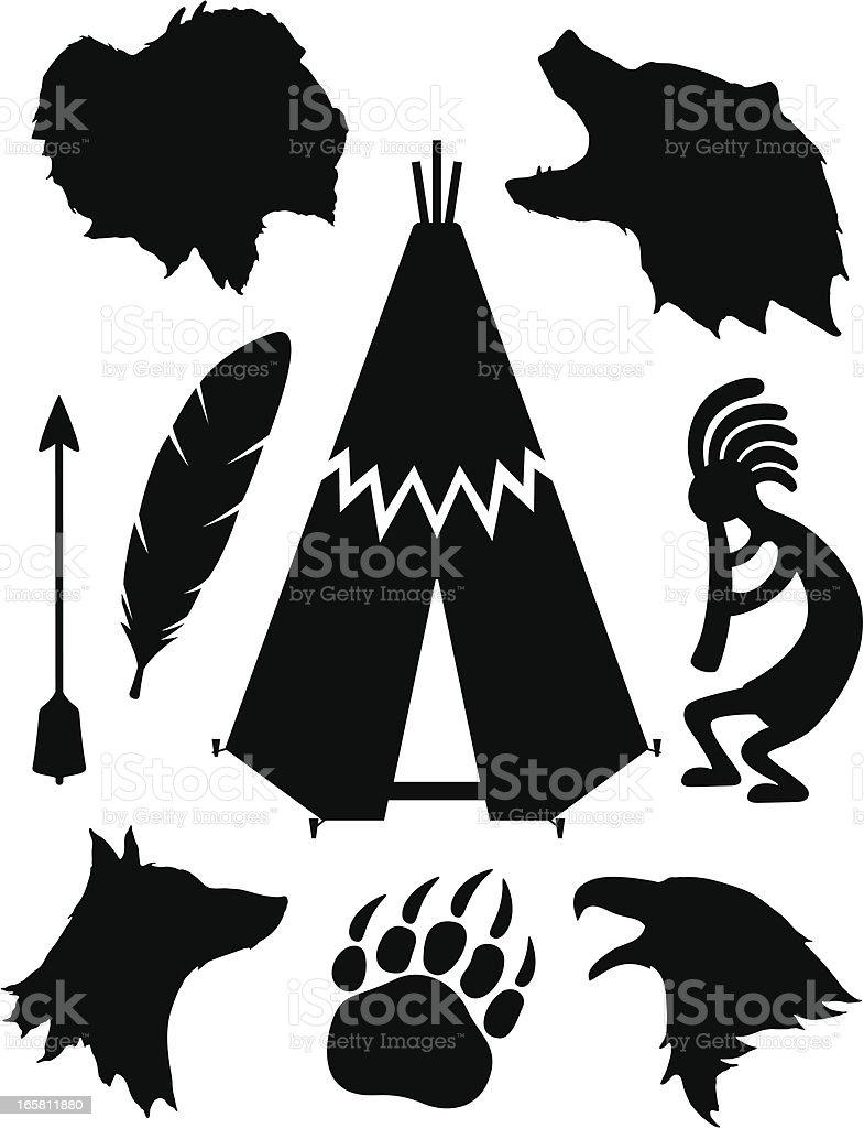 Native American Silhouettes vector art illustration