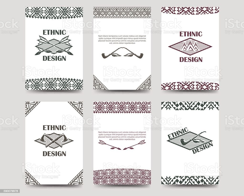 Native american style borders cards vector art illustration