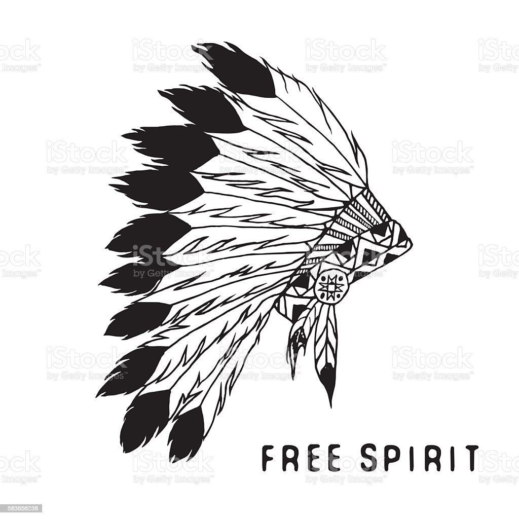 Native american traditional headdress. Tribal legend in Indian style, Vector vector art illustration
